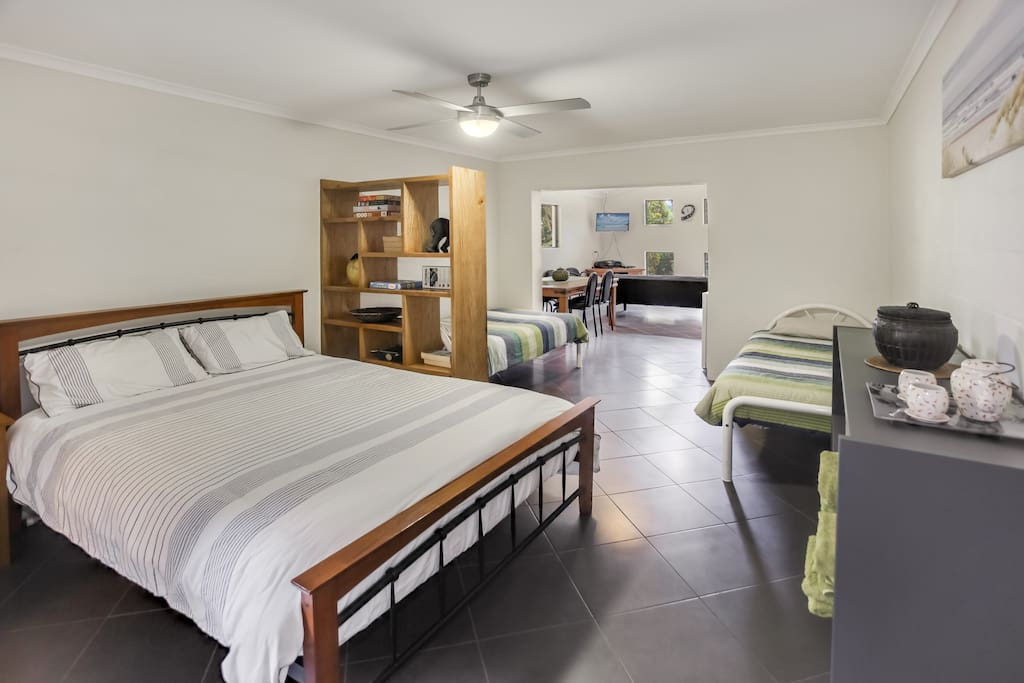 Large bedroom area perfect for a couple's getaway or family retreat