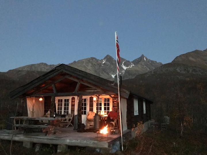 Log cabin in the wilderness in the  Lyngen Alps.