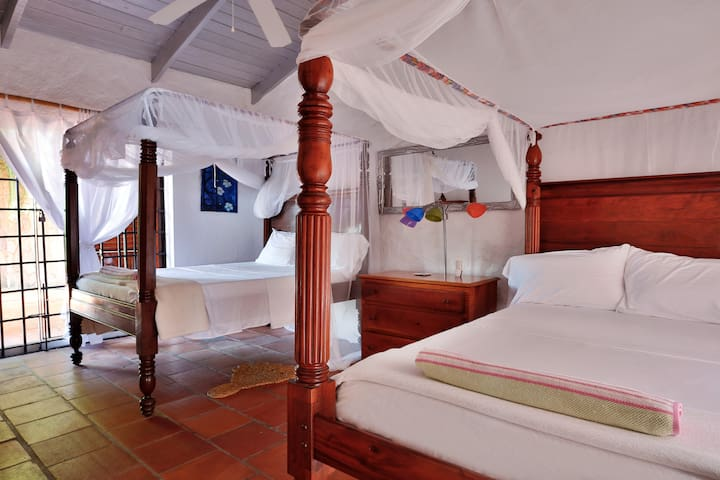Third bedroom in main house. This room is ideal for 2 children. With two single beds.