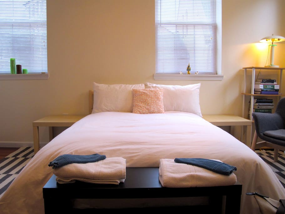 Our relaxing bed is super cushy, making it a perfect retreat from the city.