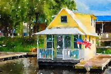 Floating cottage watercolor