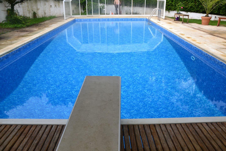 La piscine avec son plongeoir (profondeur 2m50)