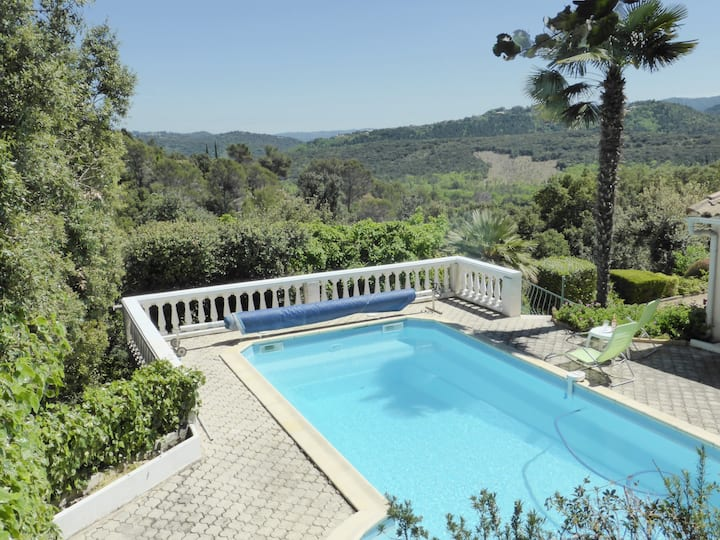 Villa with panoramic views, private pool & garden.