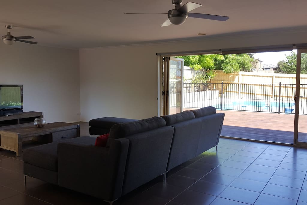 Rumpus room with pool view