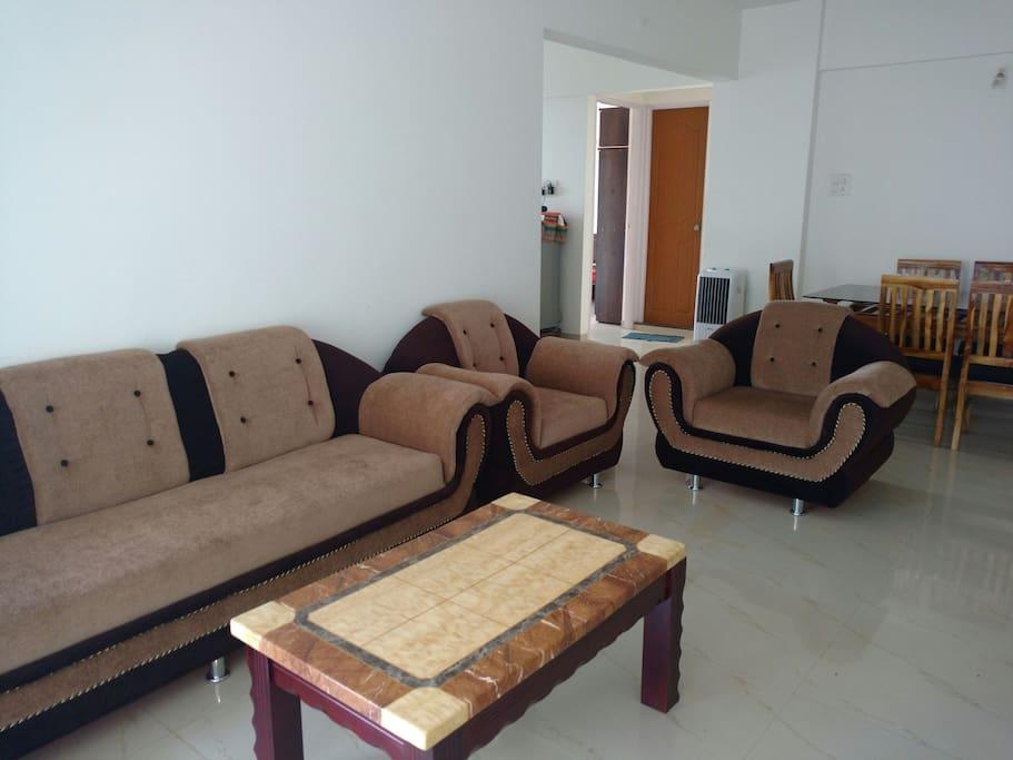 sitting arrangement in living room.