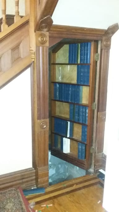 Secret book case that leads to wine cellar basement!