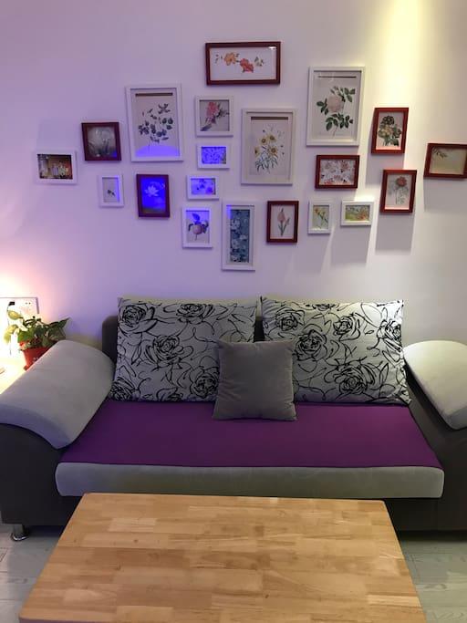 双人沙发,背后有照片式背景墙。