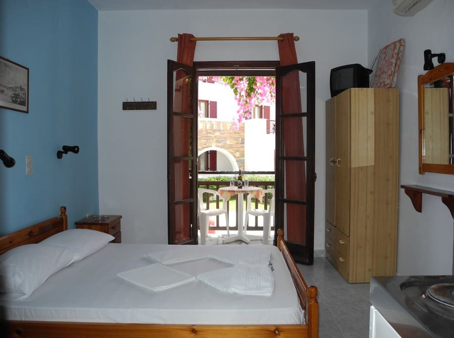 double bed and balcony