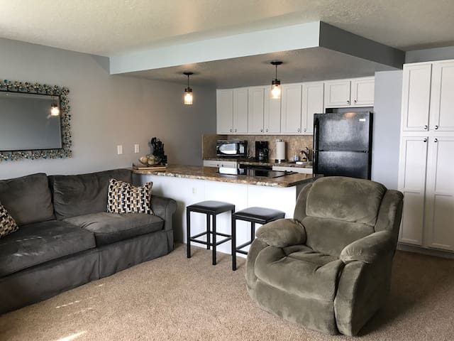 Plenty of seating for guests and couch is a hide-a-bed
