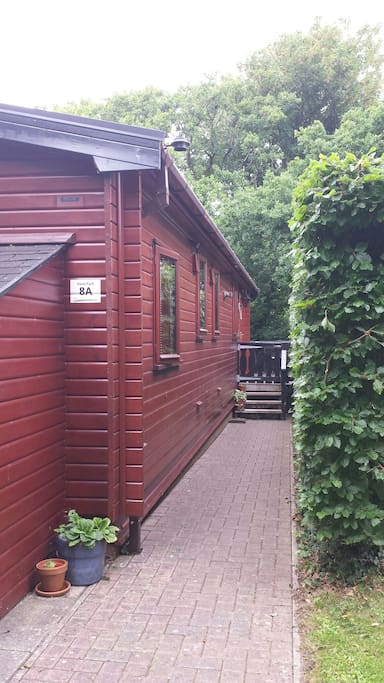 Entrance to Lodge.  Parking for 2 cars.