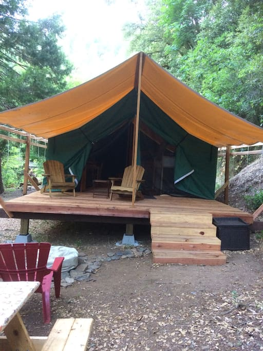 Deck of the glamping tent - propane fireplace outside