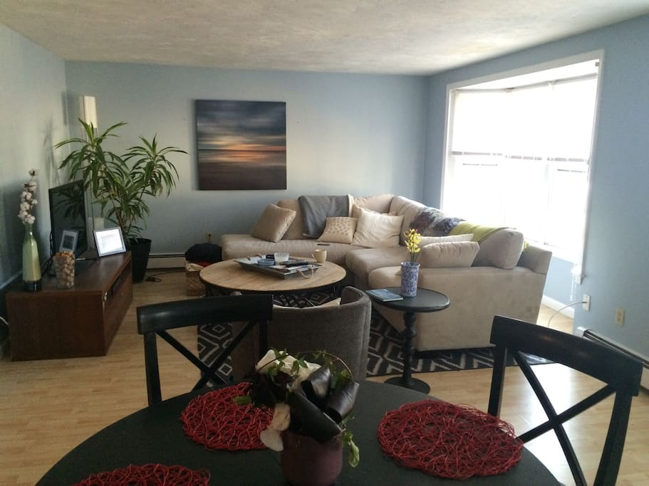 Couch is brand new from Boston Interiors.  Very sunny room and open floor plan into the kitchen.