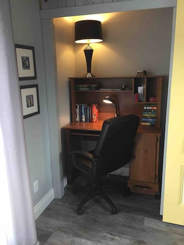 There is desk and chair behind the yellow doors-just slide doors to right to open office area.