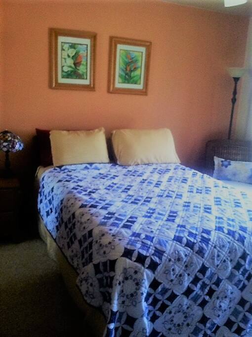 Queen size bed that looks out to one acre of Sonoran desert landscape.