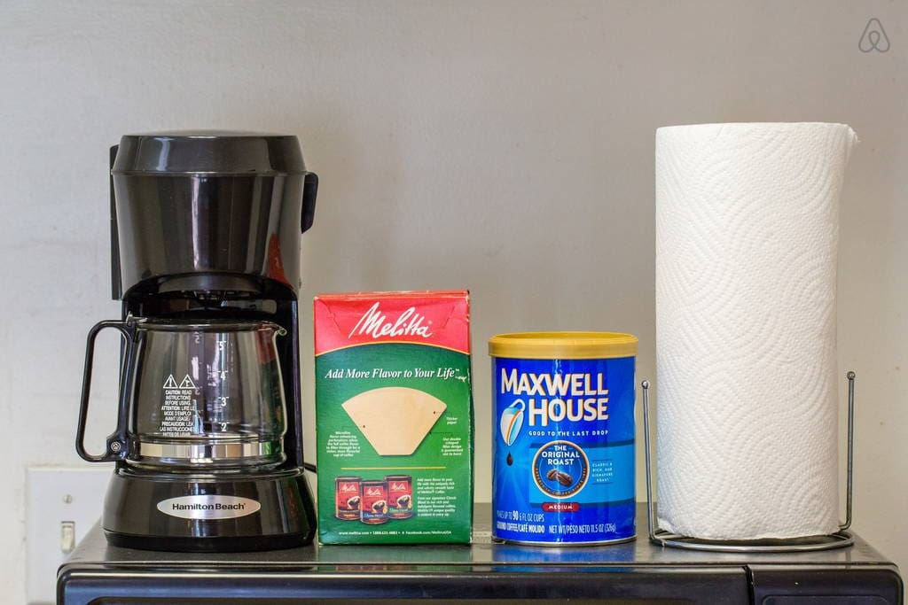 Coffee maker with filters and coffee