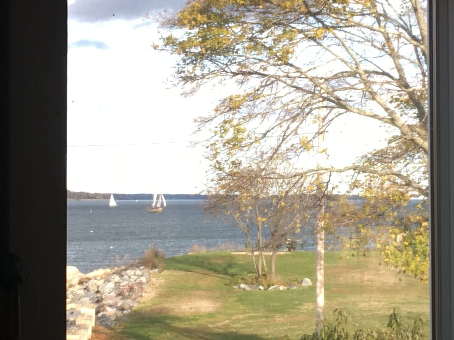 View of the FAME schooner turning about from the Living Room.