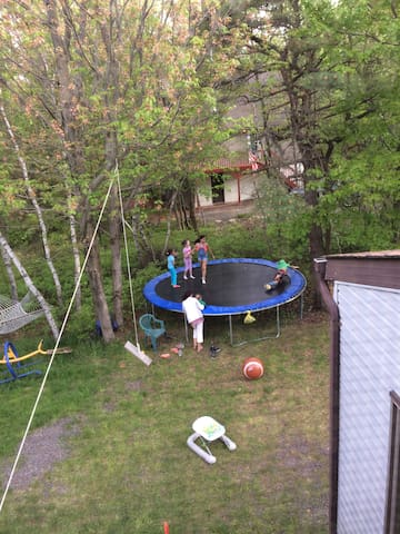 House has alot of Land,. And we have a 15' Trampoline with Swings and a industrial See Saw. Trampoline and Swings must have a written Insurance Statement
