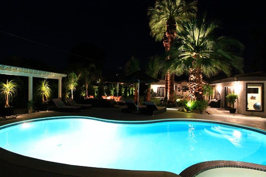 Salt Water Pool & Spa with beautiful lighting