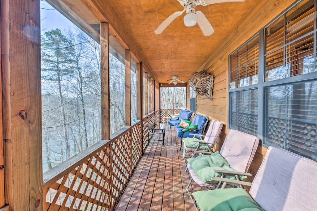 This waterfront property features a private dock, swim ladder and scenic views.
