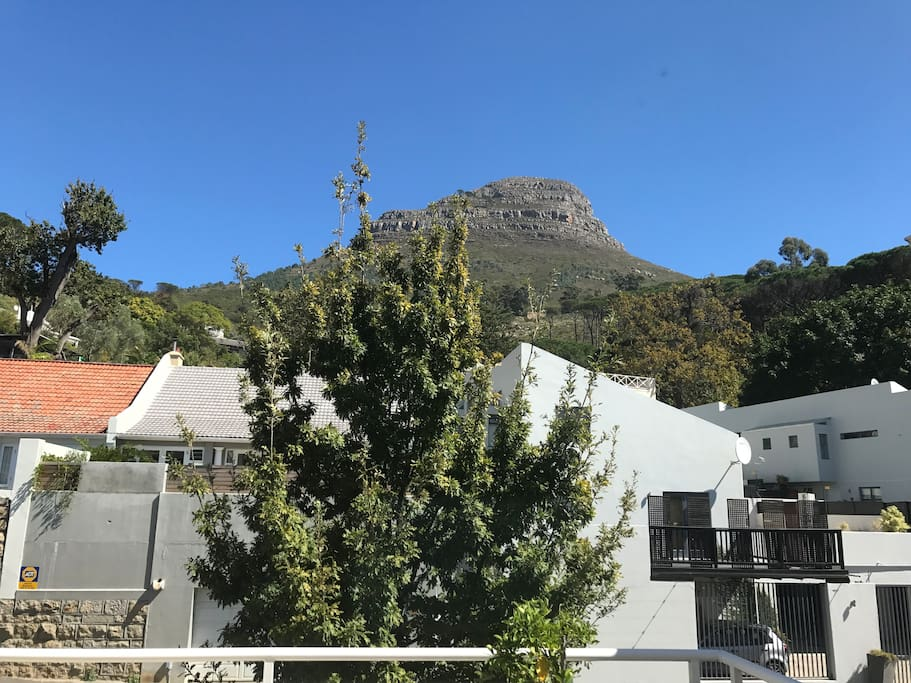 The view of Lion's Head, from the terrace and the bedroom window .