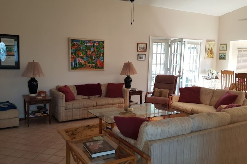 Open, large, comfortable living room.