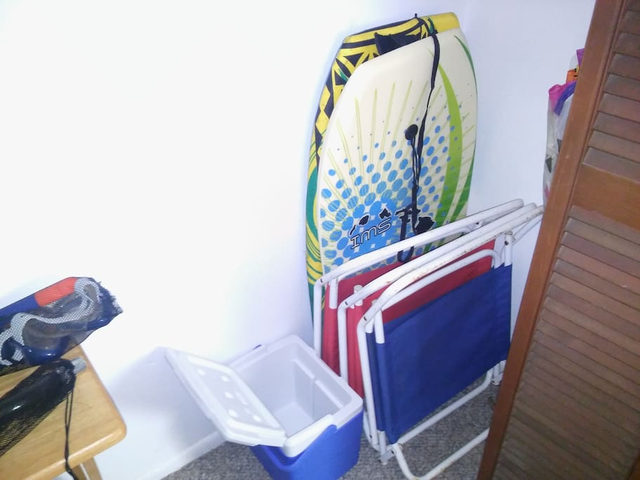 Two Boogie Boards, Beach Chairs and Cooler