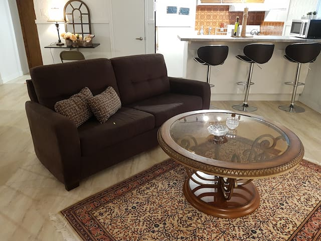 """Salon tres chaleureux avec cheminee tout en marbre, television 42"""" et IPTV. Canape tres confortable peut se transformer en lit Very cosy living room with a beutiful marble fireplace, a 42"""" TV with IPTV. A very comfortable couch can be turned to a bed"""
