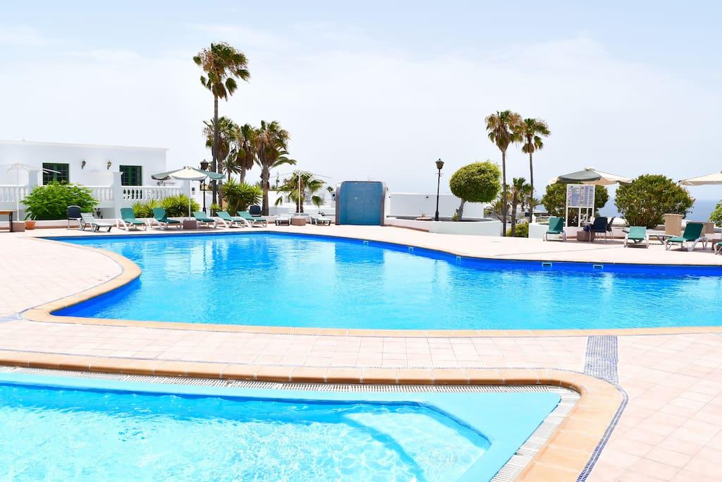 large swimming pool area