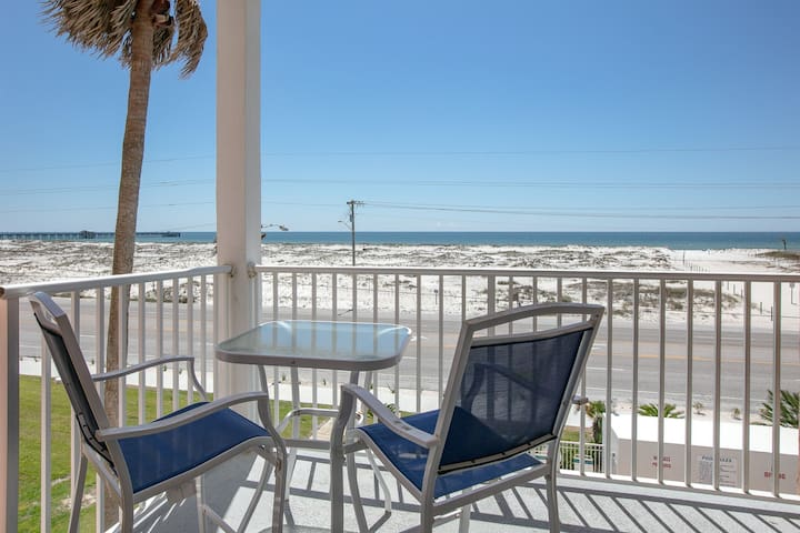 Gulf view condo across from the beach w/ balcony & shared pool/hot tub!