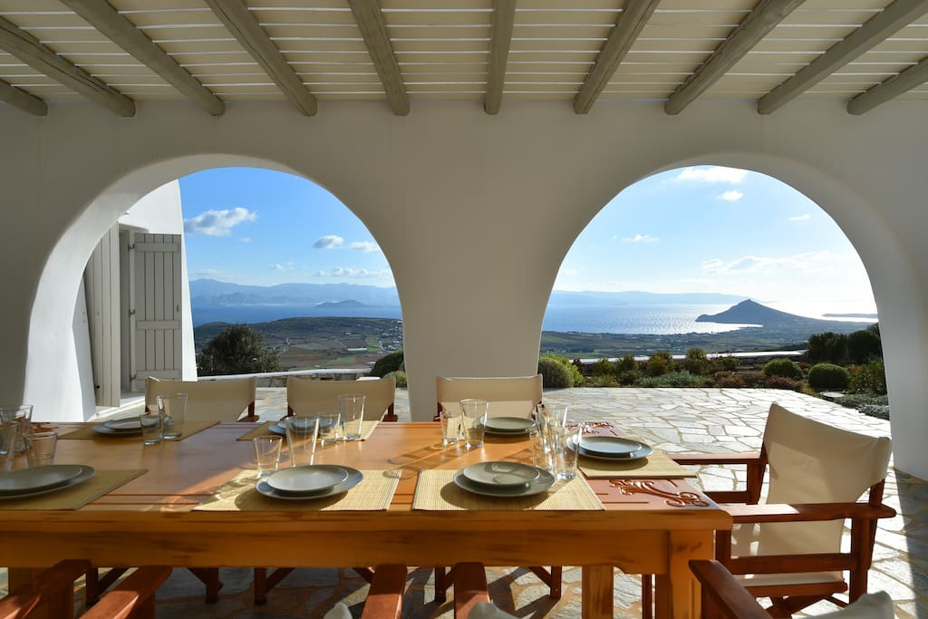 Shaded pergola offers stunning views of the Aegean and moonlight dining!
