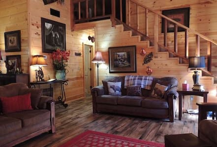 Two Bear Gorge is a beautifully decorated 2 bedroom PLUS loft cabin, sleeping 6, nestled in the Timber Ridge Estates near Beavers Bend State Park.