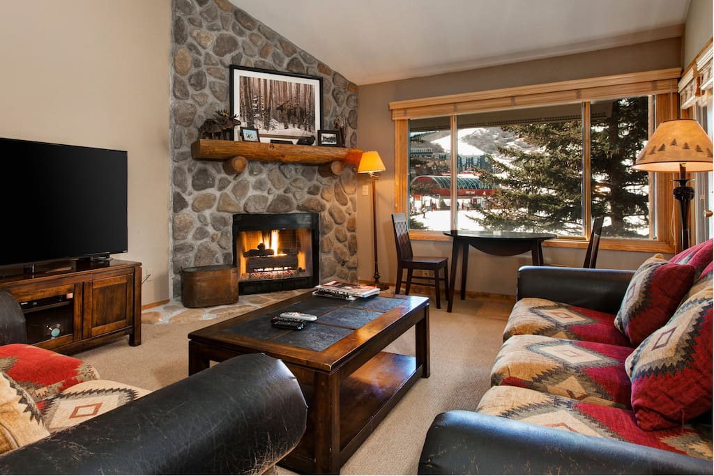 Turn on the fireplace on a chilly mountain night.