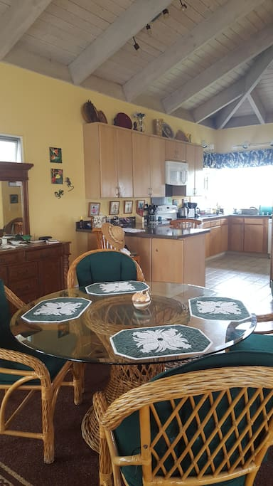 upstairs of our home.  Kitchen and dining area