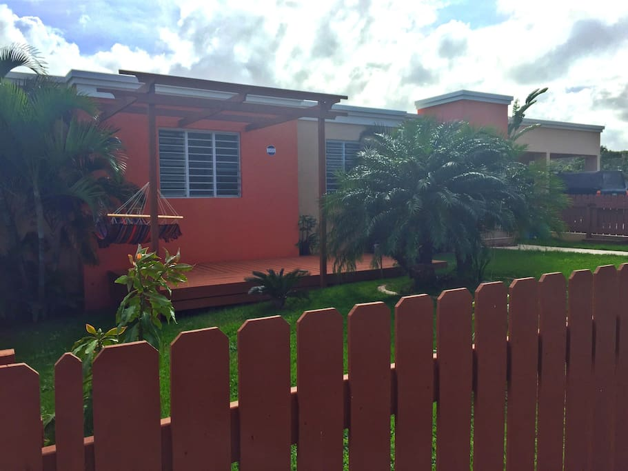 Front of house, fenced in property, safe place for children and families