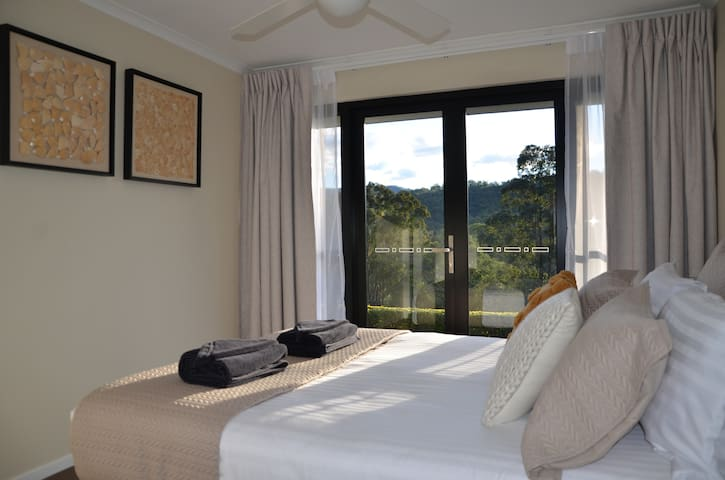 Master bedroom with mountain view
