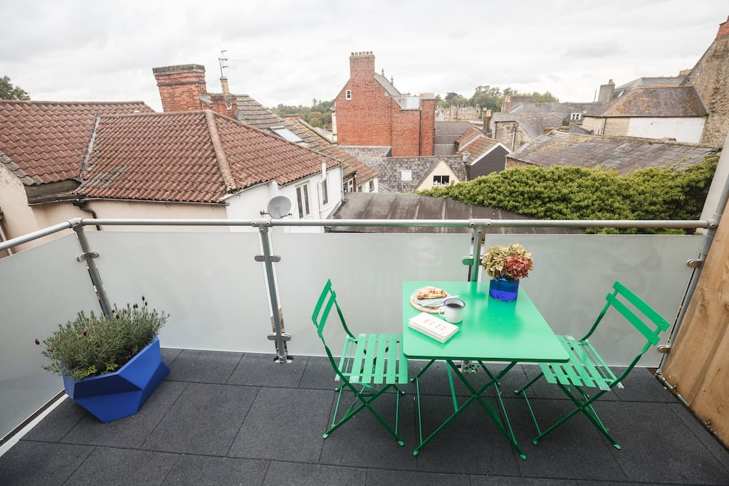 Balcony with rooftop views over Frome