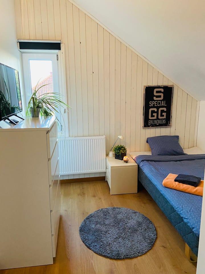 Rum i tvåvånings lägenhet nära city