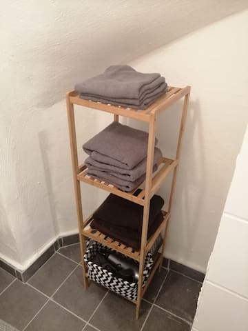 Handtücher und Föhn