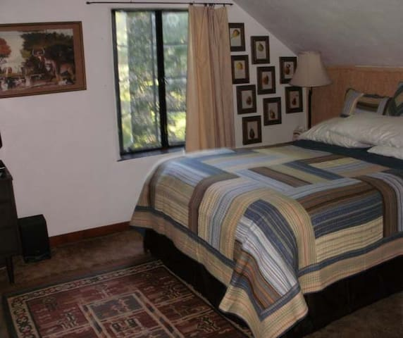 Queen bed, large windows overlook garden