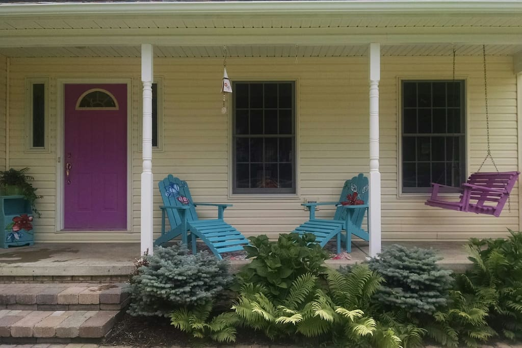Relax on the front porch with your morning coffee.