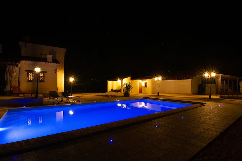 Pool night view - in dark blue