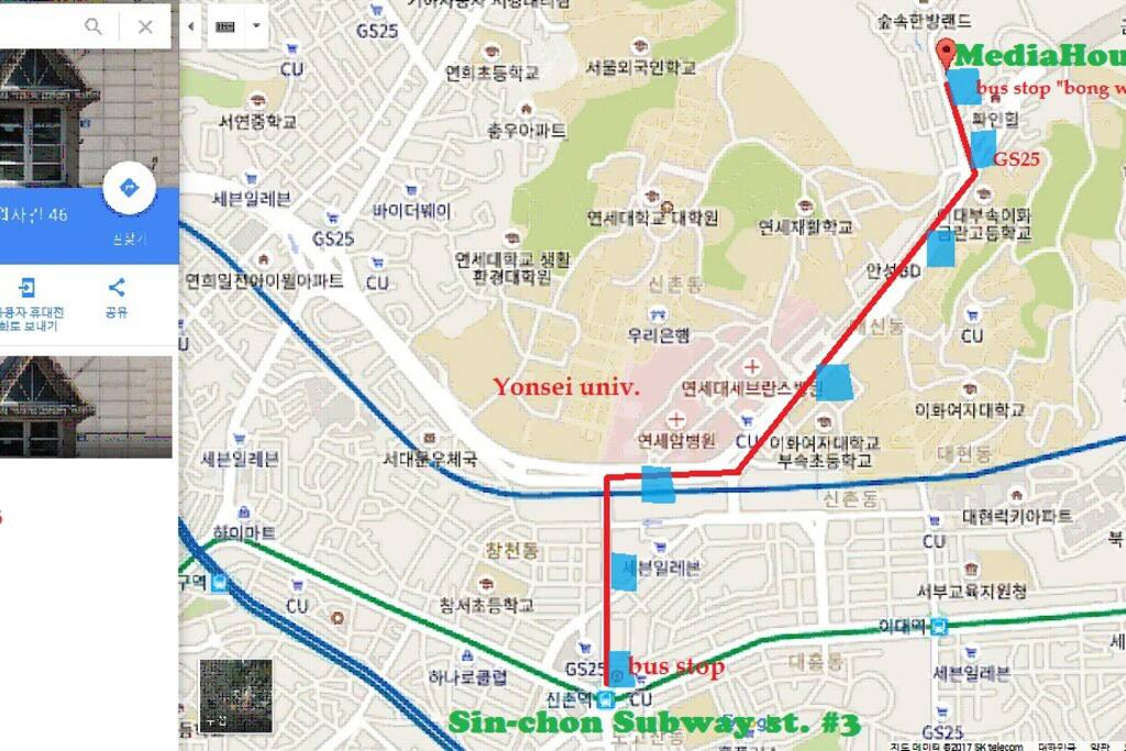 Bus route from Sin-chon St.