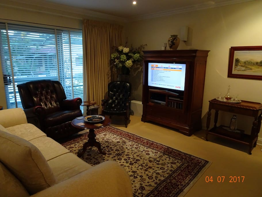 Lounge room with Foxtel