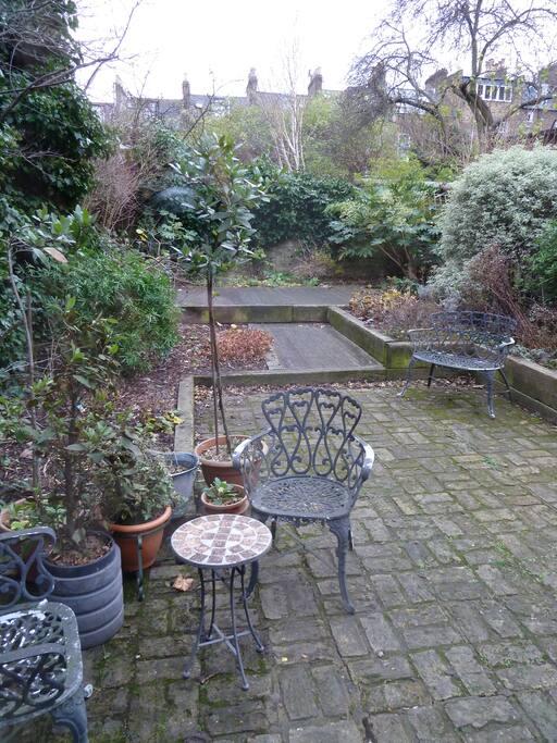 Patio garden to rear of house.