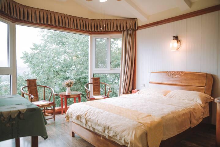 【听石楼】带超大花园的独栋别墅民宿全景落地窗房间
