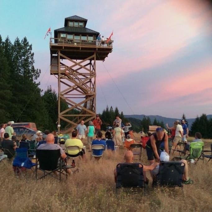 The Summit Prairie Lookout is the clubhouse for the weekend