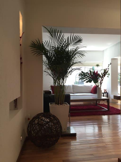 La decoración del departamento es minimalista.