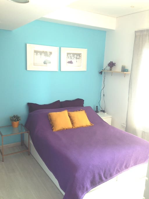 (photo taken Feb 2016) I painted the bedroom wall a fresh and happy turquoise :)