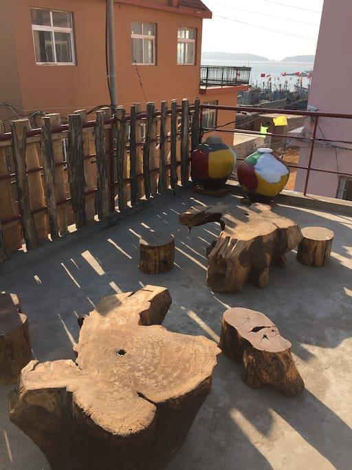 景观阳台喝茶区