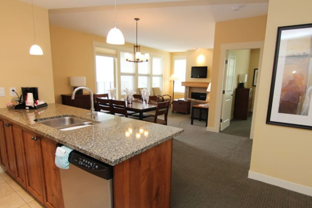The condo features an open-concept layout